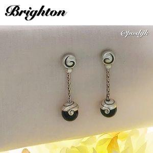 Brighton Earrings Agate Black Post Drop Dangle Silver
